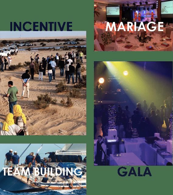 mosaïque de photos présentant plusieurs projets d'événements