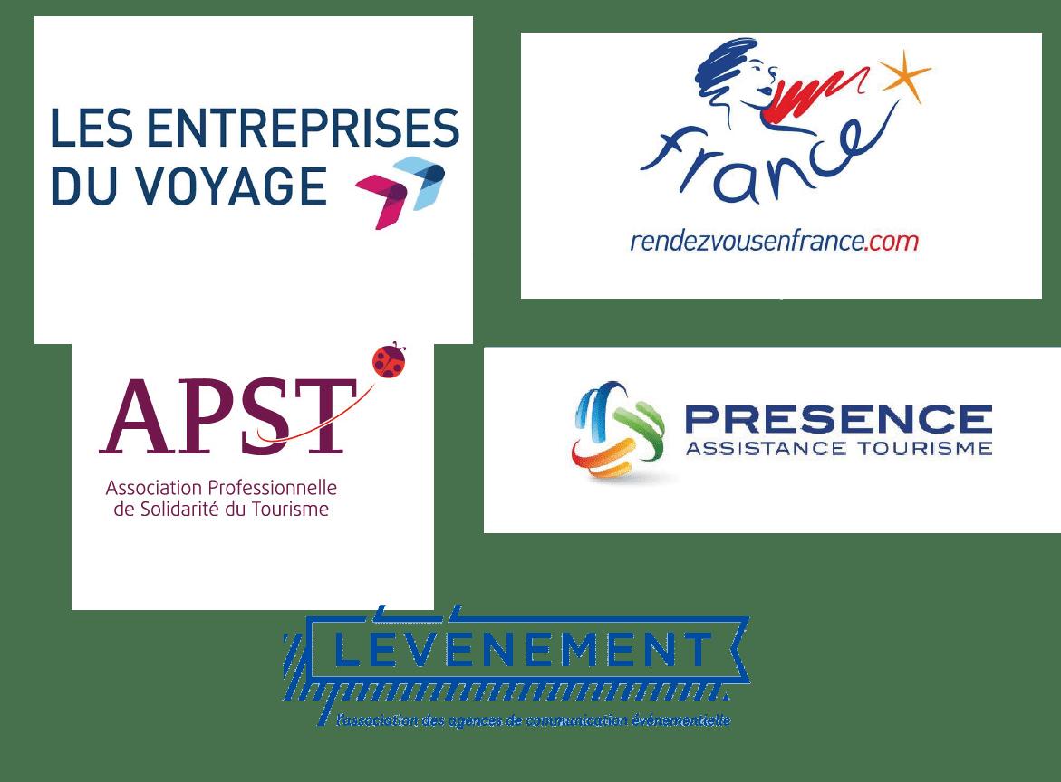 Nos affiliations : Les entreprises de voyage, rendezvousenfrance.com , Association Professionnelle de Solidarité du Tourisme, Présence Assistance Tourisme
